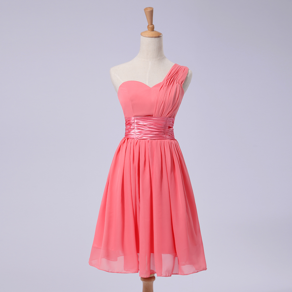 lavender one shoulder short chiffon simple bridesmade ladies bridesmaid coral dress brides maids dresses B252 - I And You Story store