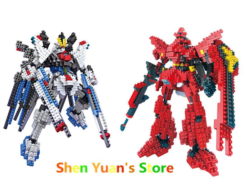 New Gundam Action Figure Model Diamond Building Blocks LOZ 17cm 6 pcs/set Toys Gift for Children 9+ Original Box(China (Mainland))