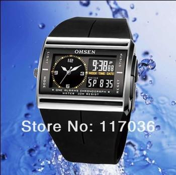 2015 New Analog Digital men watch LCD Backlight reloj hombre OHSEN Brand relogios masculino waterproof men sport watches AD0518B