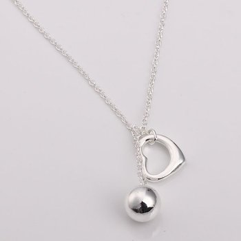 """Open heart and bead pendant on round link chain wholesale necklace 18"""" in 925 sterling silver free shipping"""