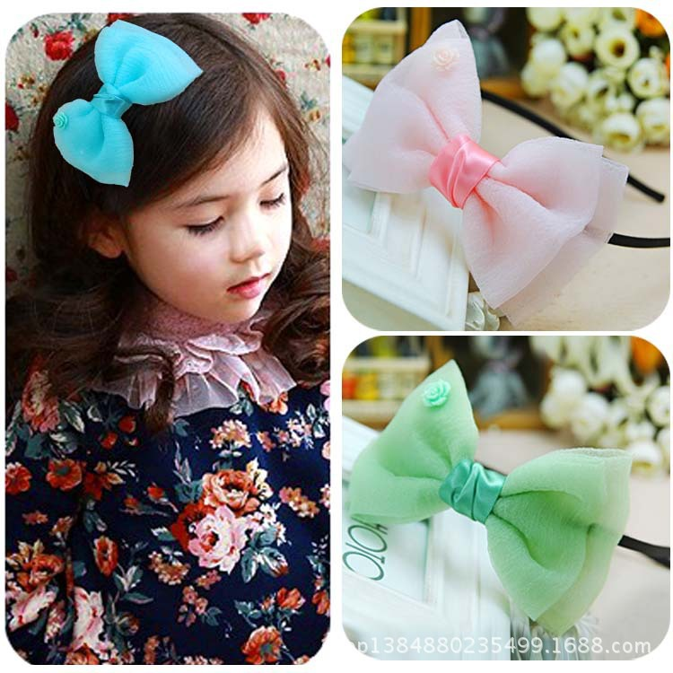 Children's head ornaments hair accessories bowknot Snow yarn more than three layer of yarn color(China (Mainland))