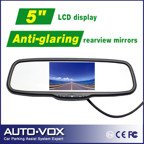 """Car 5"""" inch TFT-LCD Rearview mirror monitor 2 Video Input for DVD CCD Camera(China (Mainland))"""