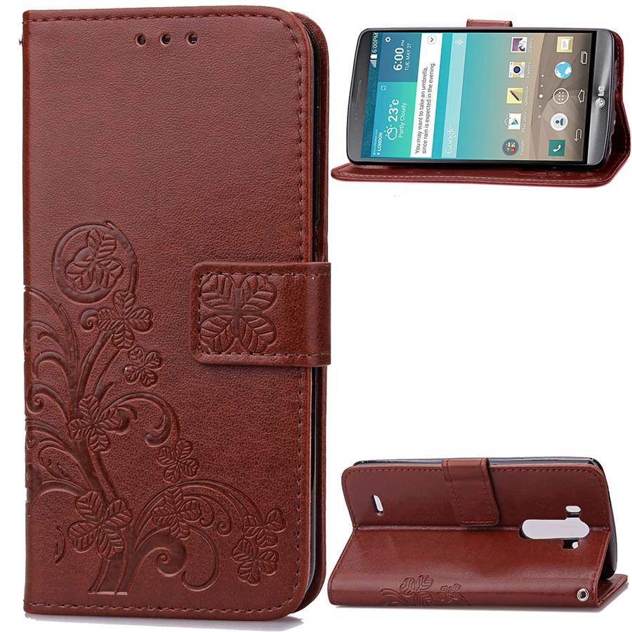 Embossing Lucky Clover Flip Cover For LG G3 Case PU Leather Side Buckle Black Brown Etc Color Lanyard Phone Cases(China (Mainland))