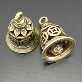 12PCS Antique Style Bronze Tone Heart Ancient Bell Charm Alloy Pendants (03753)