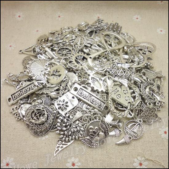 Free shipping!Hot 40-70 type Fashion charm Mixed 60pcs Alloy Pendant DIY for bracelet necklace jewelry making(China (Mainland))