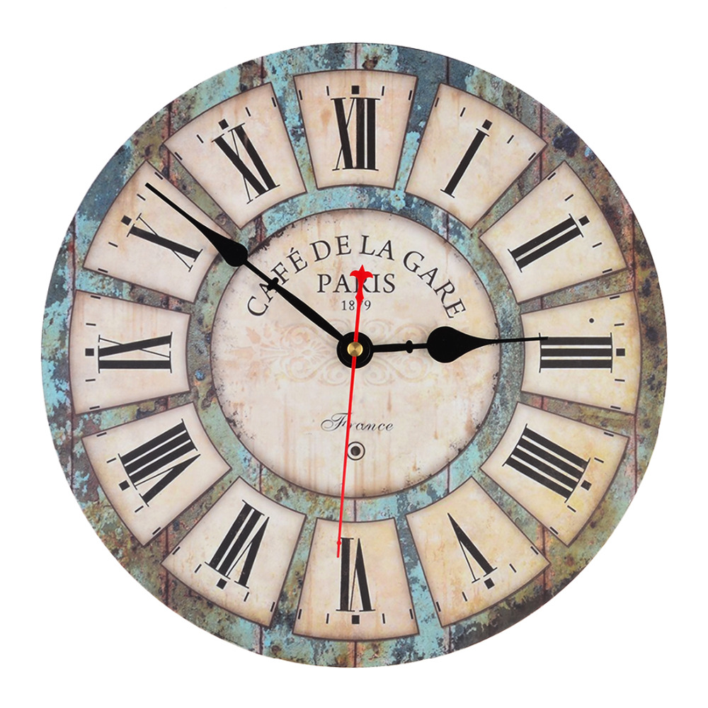 Wooden Wall Clock 12 Inch Vintage France Paris French Country Tuscan Style Roman Numeral Design Silent Wooden Wall Clock(China (Mainland))