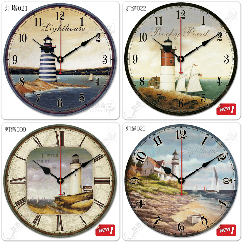 Free shipping 12-inch vintage rustic wood lighthouse wall clock brief home decoration mute(China (Mainland))