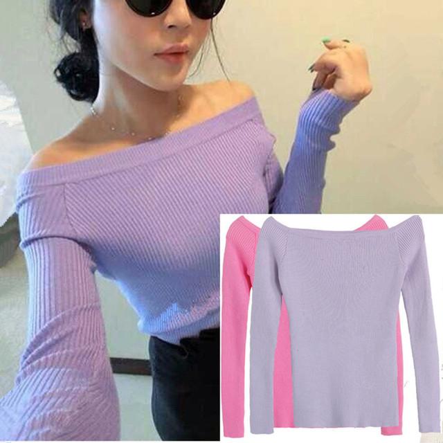 Сексуальная осень и зима женщин основной пуловеры свитера женский щель декольте без ...