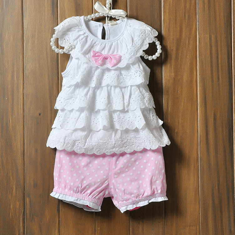 Baby Girl Cake layers of lace sleeveless tops + shorts suits Blue Polka Dot Polka Dot Cake Kit for Baby's Sets(China (Mainland))