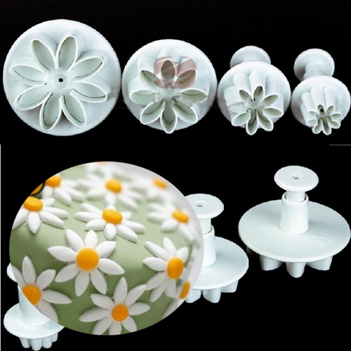Free Shipping 4Pcs/Set Daisy Flower Cookie Sunflower Plunger Cutter Sugarcraft Fondant Cake Tool Christmas Cake Decorating Tools(China (Mainland))