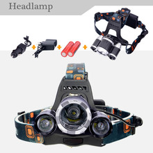 2016 New,T6Headlamp 5000 Lumens 3 x Cree XM-T6 +2R5 Lamp LED camping Headlamp Headlight with rechargeable battery & charger