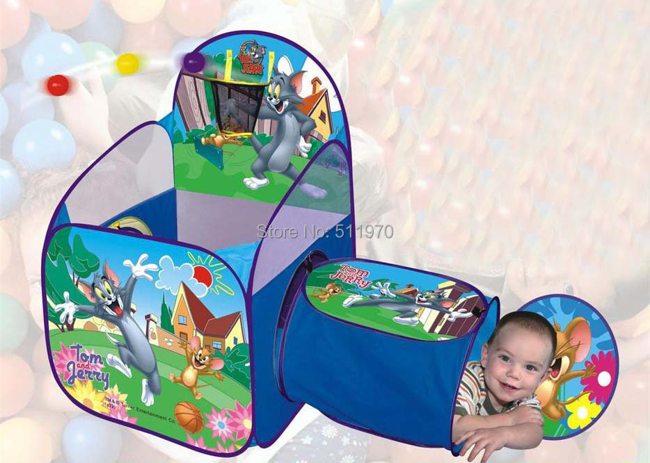 Free Shipping foldable child tent kids outdoor play children house outdoors tent with tunnel shoot at the basket game sea ball(China (Mainland))