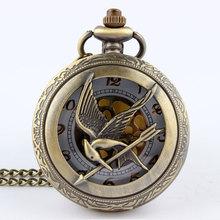Retro Vintage Large Hunger Game Steampunk Quartz Pocket Watch Necklace Chain Fashion Bronze Watches relogio de bolso