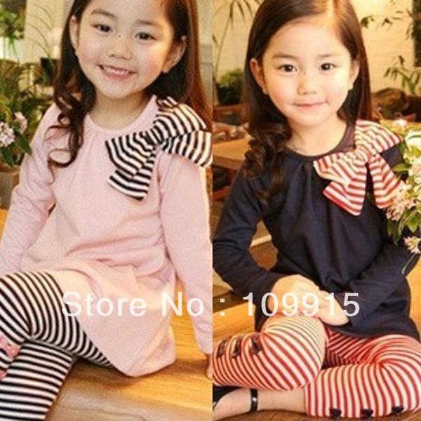 Гаджет  Droppshipping Free*Lovely Pinks&Blues Girls Long Sleeve Shirts Bow Striped Leggings Pajama Suit Sets 3-8 Y LKM088 None Детские товары