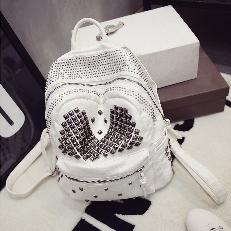 New fashion trendy women soft PU leather rivet backpacks women's double back packs girl punk hip-hop motorcycle bags A25(China (Mainland))