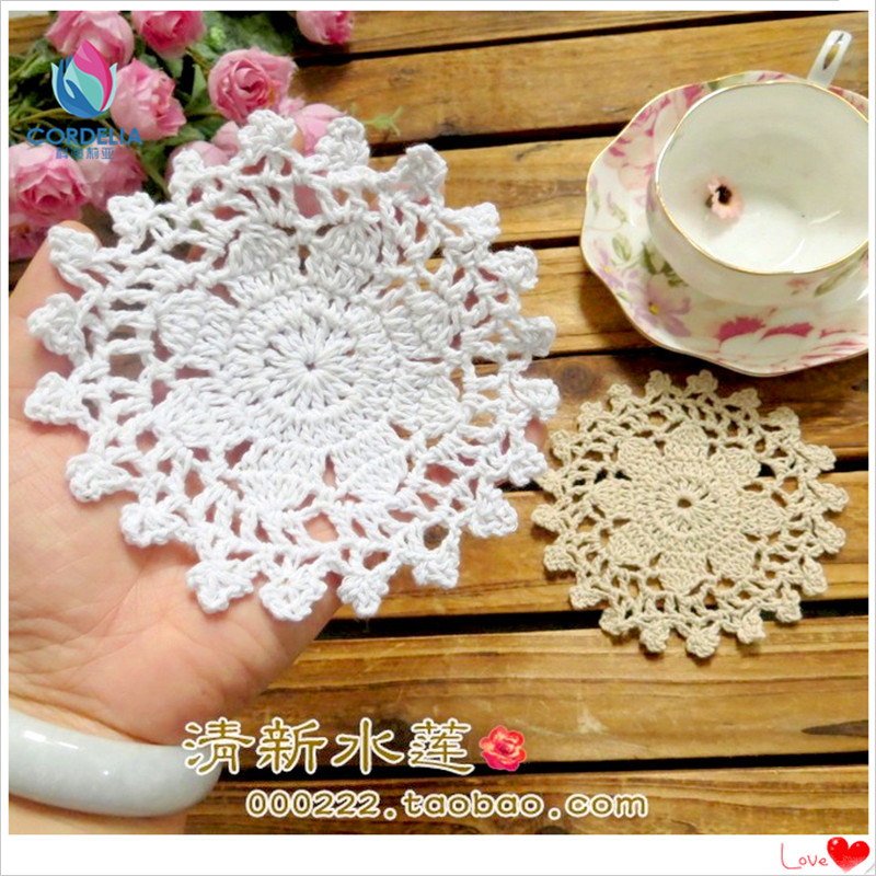 2016 new fashion design 20 pic 11cm round cotton placemat table mat cup pad doilies as coffee table decoration retro trivet(China (Mainland))
