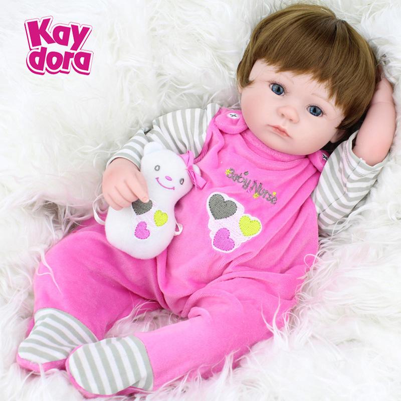 2016 New 16 Inches 40cm Silicone Doll Reborn Baby Kawaii Kids Toys Girls boneca Blue Eyes Brown Hair Wig Gift Dolls brinquedos(China (Mainland))
