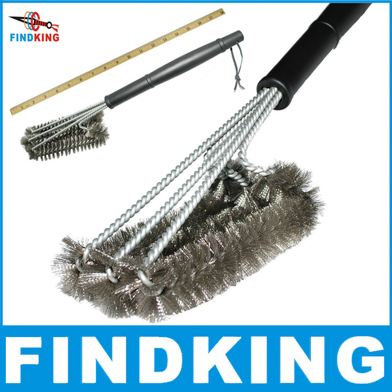 "18"" Rugged Grill Cleaning Brush BBQ tool Grill Brush 3 Stainless Steel Brushes In 1 Provides Effortless Cleanin BBQ Accessories(China (Mainland))"