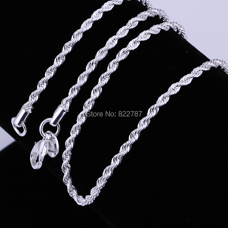 Fashion 925 sterling silver twisted rope chain necklace 2MM 16 24inches beautiful classic jewelry accessories wholesale