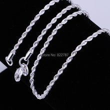 Fashion silver twisted rope chain necklace 2MM 16-24inches beautiful classic jewelry accessories wholesale factory(China (Mainland))