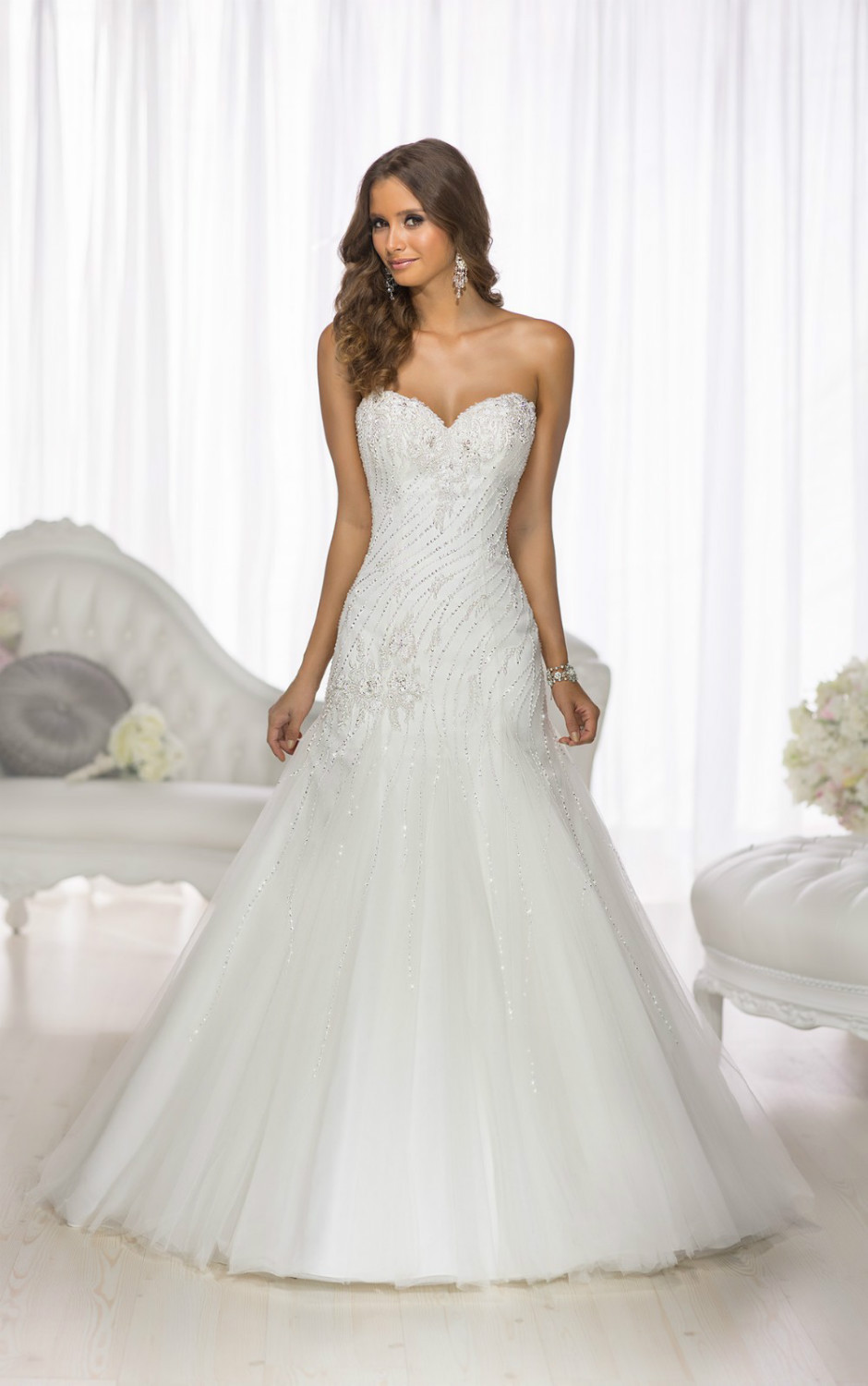 Wedding Dresses Modified A Line : This modified a line designer wedding gown from essense of features
