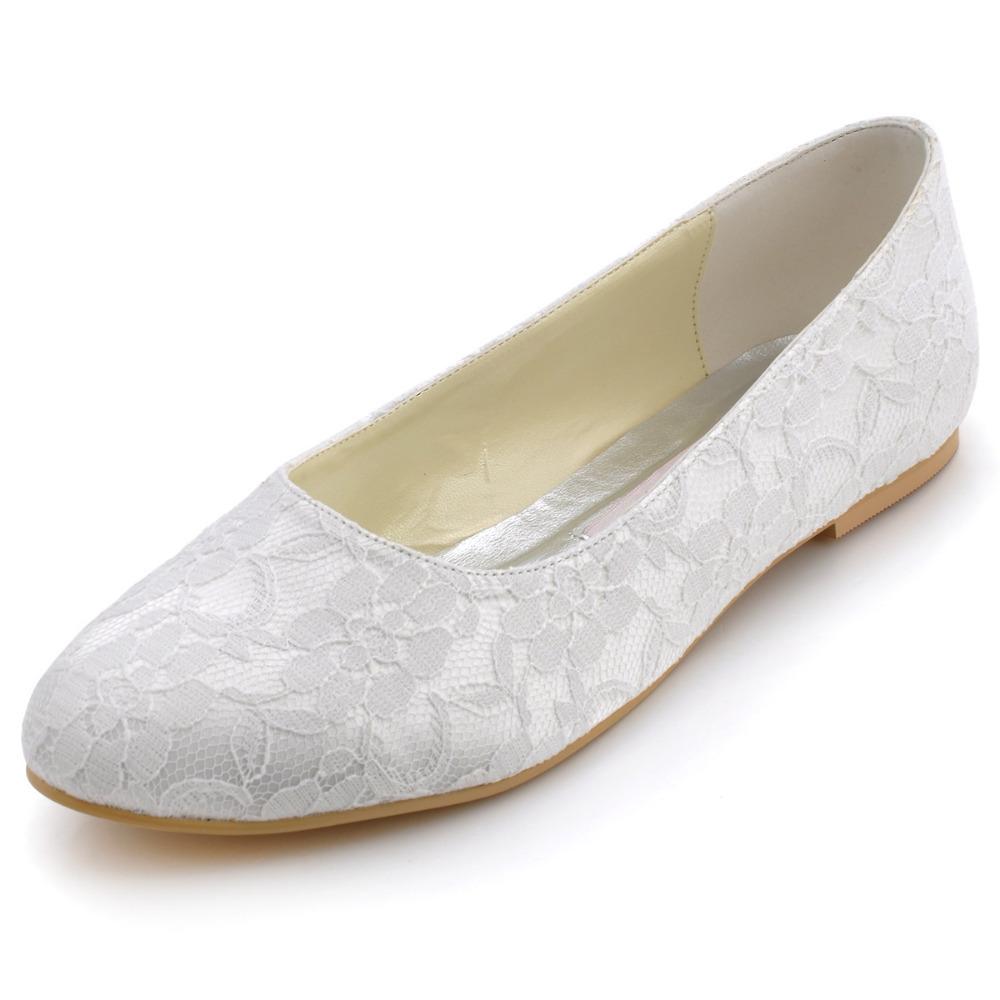 Fashion Woman Flat Shoes Plus Size Elegant EP11106 White ...