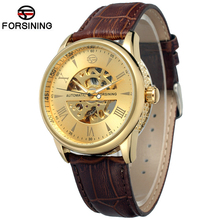 1 ATM Waterproof Auto Mechanical Male Genuine Leather Strap Transparent Men Automatic Skeleton Watches Clock(China (Mainland))