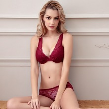 2015 New Victoria Sexy Lace Lingerie Small chest gather Thin Bra sets Brand France women Bra lingerie  lace Bra Brief Sets