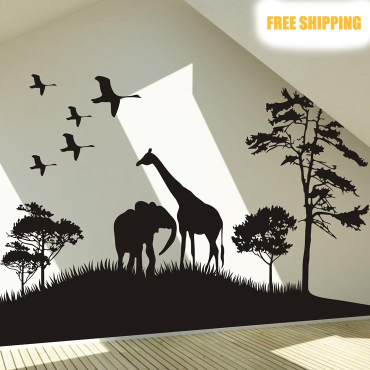 2015 Hot selling Big size Safari Africa Animals Wall