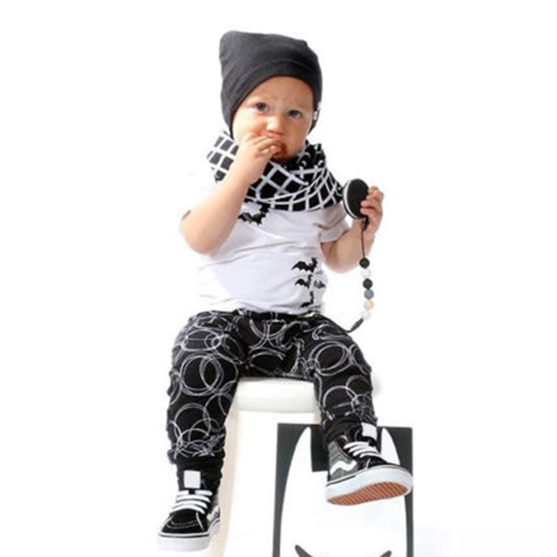 Summer Fashion Baby Kids Boys Toddler 2Pcs Short Sleeve White Breathable Casual Animal Print T-Shirt + Black Pants Outfits Sets(China (Mainland))