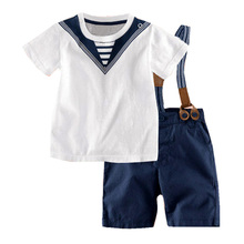 Top Sale Summer Baby Boys Clothing Suits Gentleman Style Newborn Infant Clothes Set Printed Short Sleeves Shirts+Bib