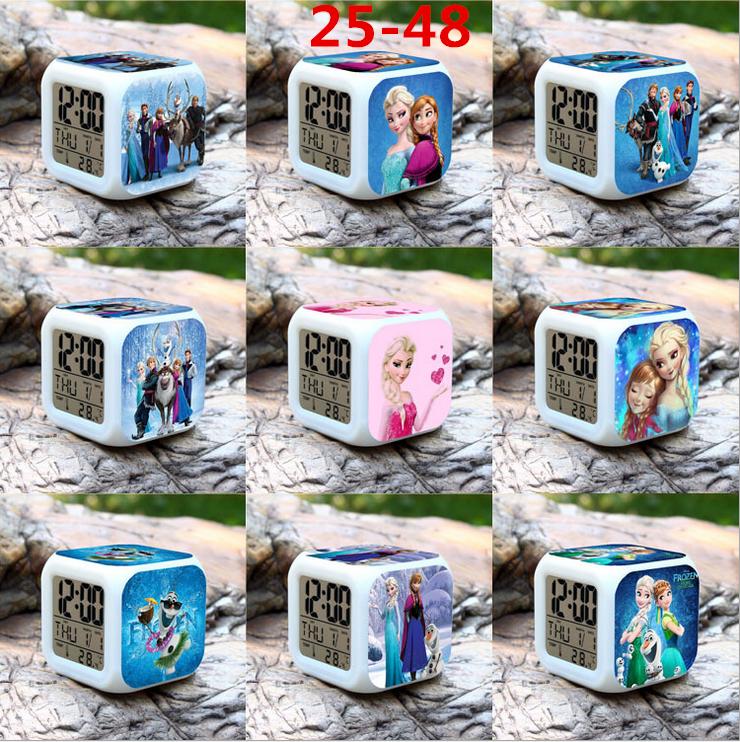1pcs/set Alarm Clock Colorful Elsa Anna Action Figure PVC 8cm Calendar Thermometer Digital Led Night Light Glowing Toy 25-48(China (Mainland))