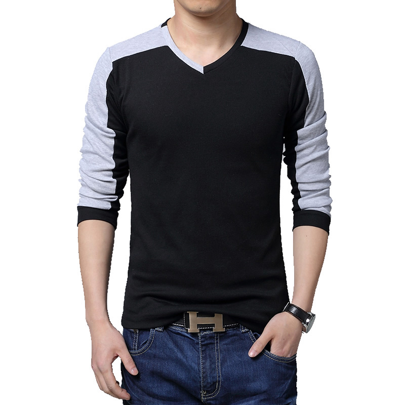 Patchwork casual v neck t shirts for men slim fit male t for Full sleeves t shirts for men