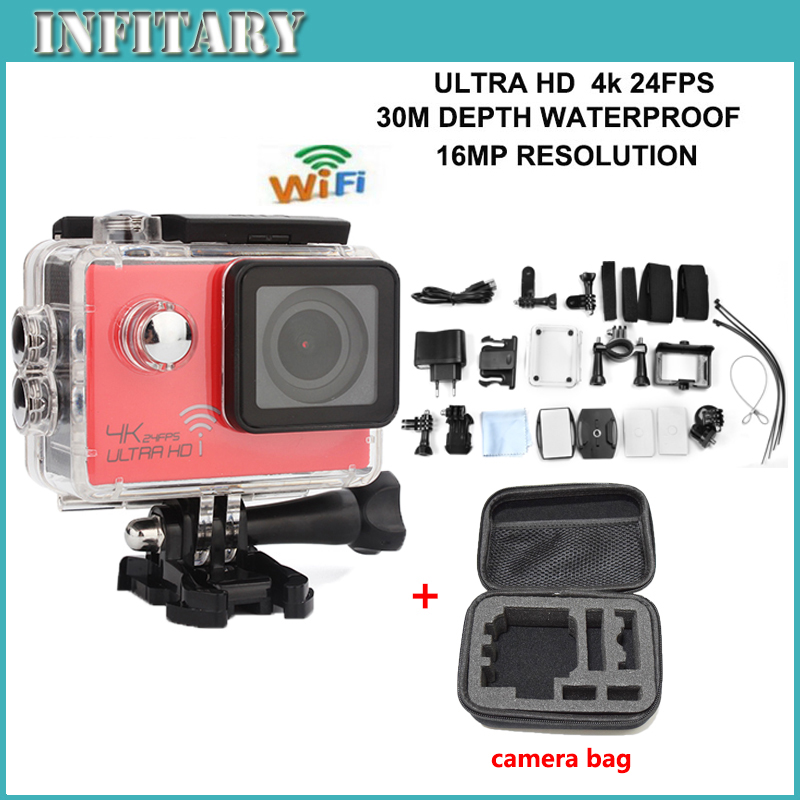 Add Camera bag 4K 3840*2160P/24FPS 16MP 170D WIFI Action camera Novatek 96660 underwater waterproof camera Hottest hero4 style(China (Mainland))