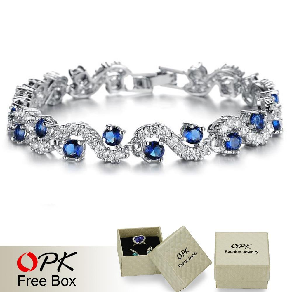 OPK JEWELRY Fashion EU Style Platinum Plated Blue Crystal Stone Bracelets & Bangles Luxury Romantic Wedding Jewelry Gift(China (Mainland))