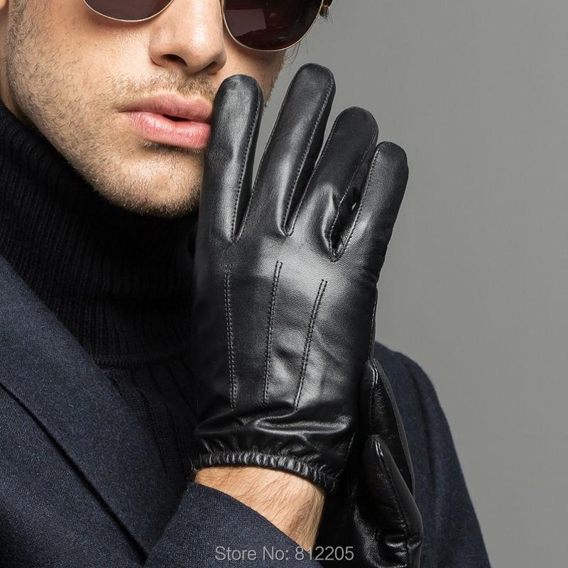 Men Leather Gloves Driving /Motorcycle Winter Genuine GY421 Silk Line - Warermas Factory store