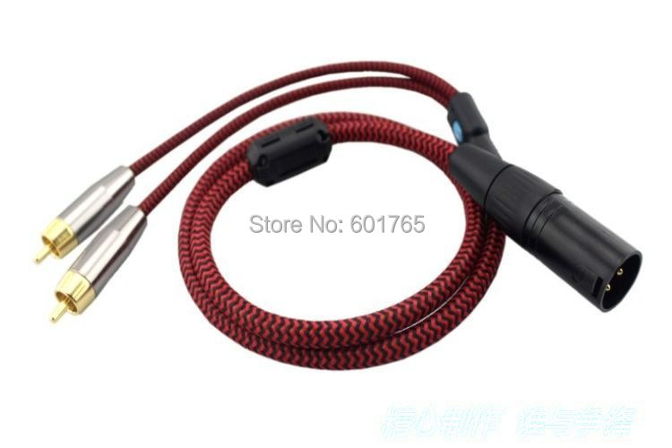 Hifi 3 Pin XLR to 2 RCA Splitter Cable for Amplifier Mixer with Shielding Male to Male 1M 10pcs/lot(China (Mainland))