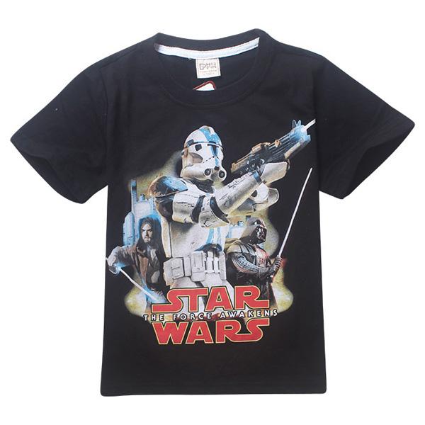 2016 Star Wars T shirts summer boys Star Wars pattern Tops fashion Short Sleeve kids t-shirt Boys blue Shirts Clothing Children