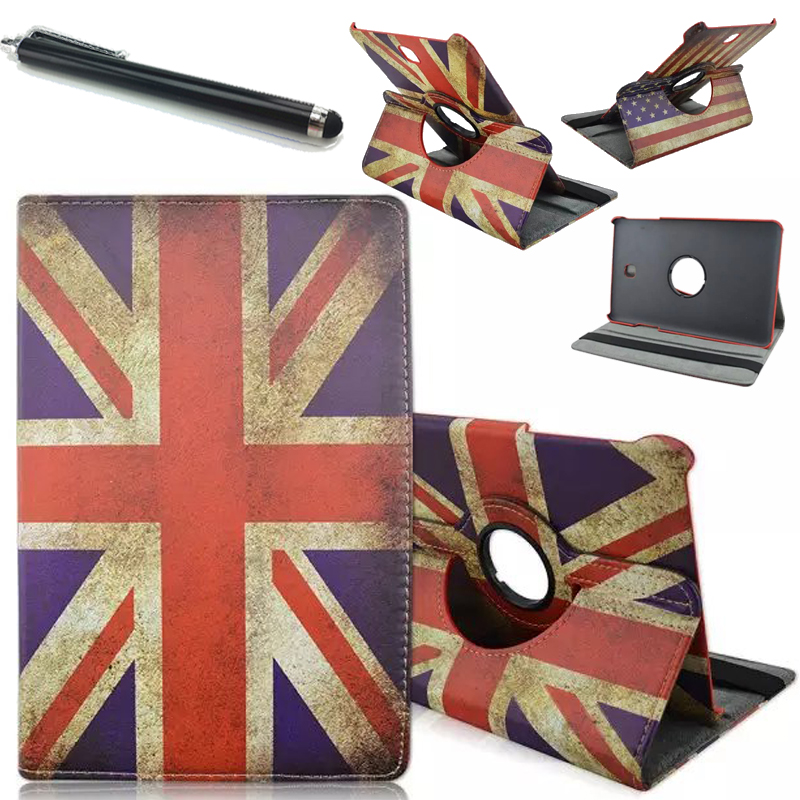"""1pcs/HOT! 360 Rotation Stand fashion UK flag cover Case for Samsung Tab S2 9.7"""" T810 T815 Tablet pc funda case+pen Free shipping(China (Mainland))"""