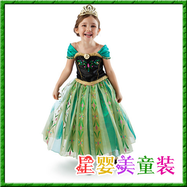 2015 Anna Princess Tutus Costume Cosplay Dresses Fashion Summer Lace Girls Dress Party Kids Clothes C20W06 - SNOW LOVE store