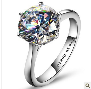 Free shipping! Luxury 4 carat Simulated diamond rings for women exaggerated rings sona diamond wedding ring(China (Mainland))
