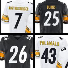 #25 Burns #43 Polamalu #7 Roethlisberger #26 White Black Elite 100% Stitched Logos Free shipping(China (Mainland))