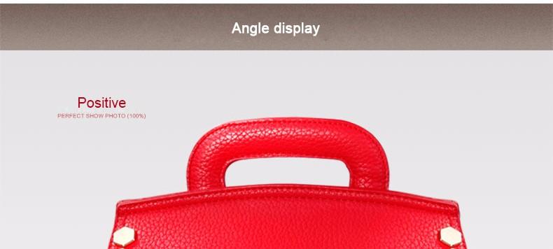 Bright Red Top Quality Bridal Bag Women 2016 Trendy Fashion Litchi Stria Leather Handbag Rivet Bag Lady Designer Shoulder Bag