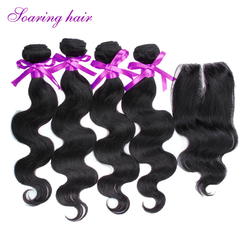 Cheap Brazilian Virgin Hair With Closure 4 Bundles With Closure #1B 100% Human Hair Weave Brazilian Body Wave With Lace Closure
