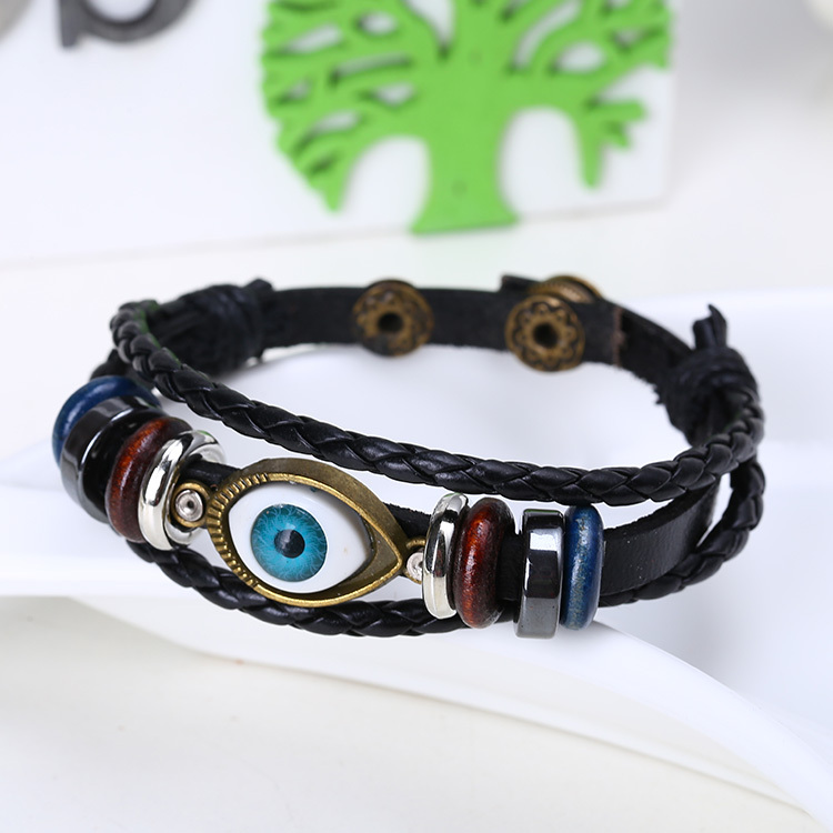 Retro Jewelry Men Punk Metal Evil eye bead Real Leather Bracelets Bangles Woven Bracelet adjustable size ! - Alice jewelry world store