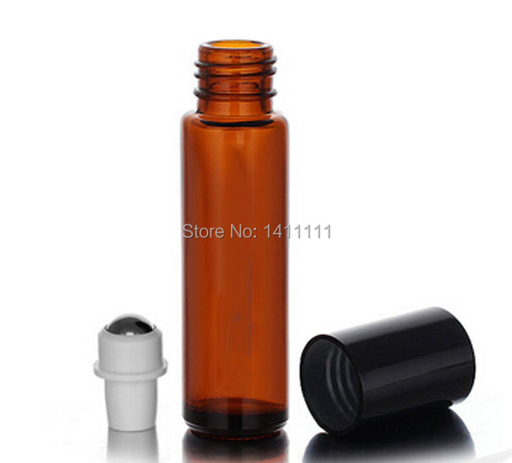 Wholesale - 10ml (1/3oz) Amber Glass Roll On Essential Oils Aromatherapy Perfume Bottles With metal Roller Ball BY DHL Free Ship(China (Mainland))
