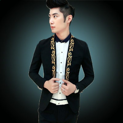 2015 Prom Black Suit White Blazer Men Gold Suits prom Blazer Masculino Paleto Terno Baroque ...