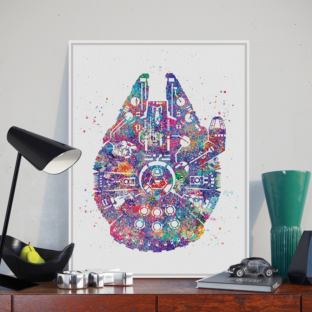 Original watercolor star wars ship pop movie a4 art prints for Pop wall art