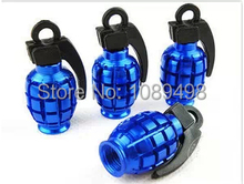 Auto car truck motor bicycle antitank grenade style tire wheel rims valve cap cover universal BLUE color 4Pcs/Set(China (Mainland))