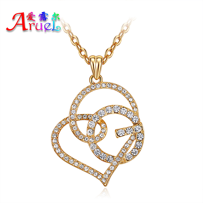 fine fashion jewelry full crystal pendant necklace collares real 18k gold plated lover Romantic heart necklaces for women girls(China (Mainland))